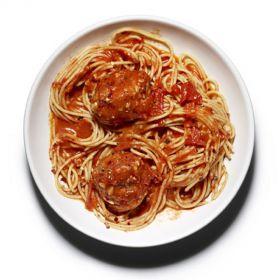 Spiced Spaghetti with Meatballs and Arabiatta Sauce -350g