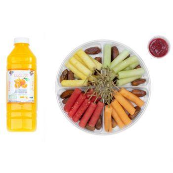 Fruit Platter Premium with Raspberry Dip with 1L Orange Juice 1PIECE